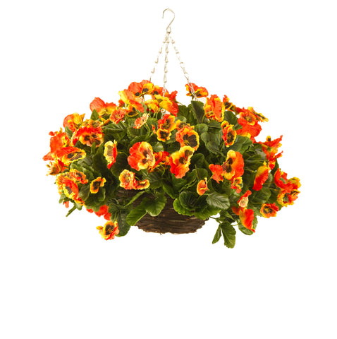 Artificial Hanging Basket, Pansy Ball, Orange