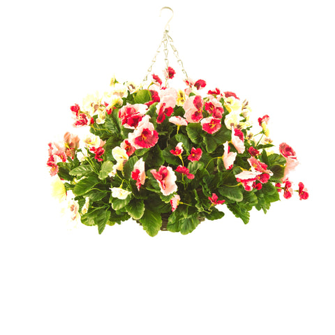 Artificial Hanging Basket, Pansy Ball, Pink/White