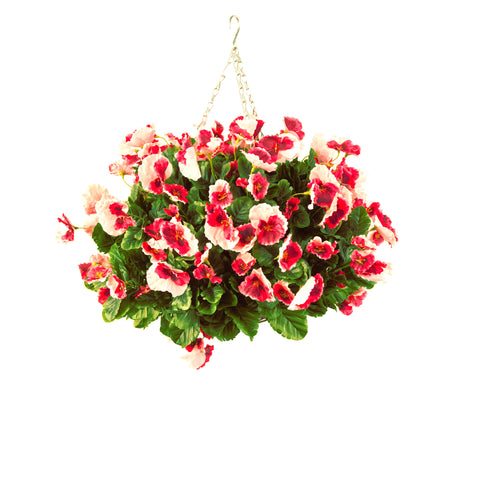 Artificial Hanging Basket, Pansy Ball, Red