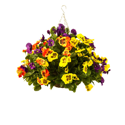 Artificial Hanging Basket, Pansy Ball, Multiple Colour Mix - Orange, Yellow, Purple