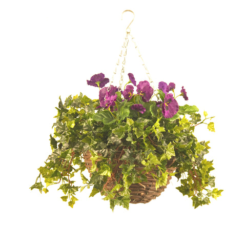 Artificial Hanging Basket, Pansy & Ivy Small, Red