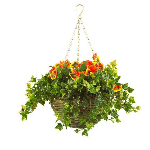 Artificial Hanging Basket, Pansy & Ivy Small, Yellow