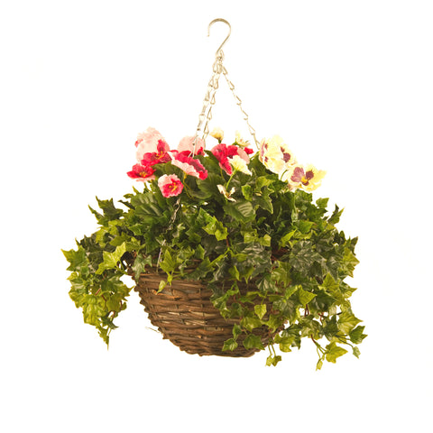 Artificial Hanging Basket, Pansy & Ivy Small, Pink/White Mix