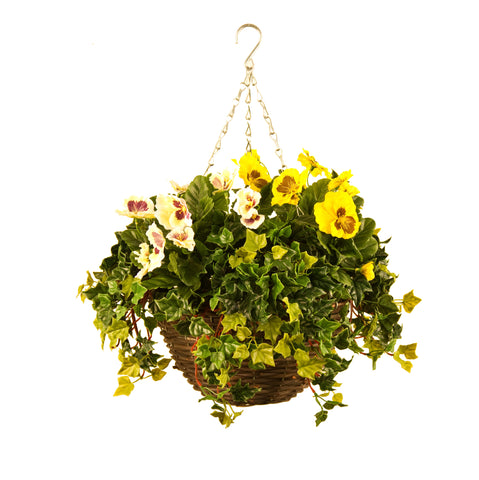 Artificial Hanging Basket, Pansy & Ivy Small, Yellow/White Mix