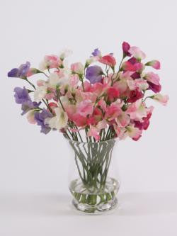 Artificial Flower Arrangement; Sweet Peas in Flared Vase