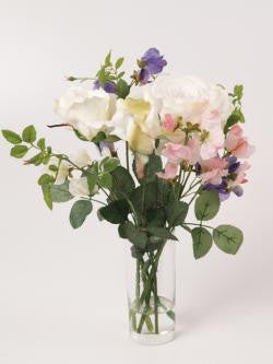 Artificial Flower Arrangement; Sweet Peas and Roses Vase