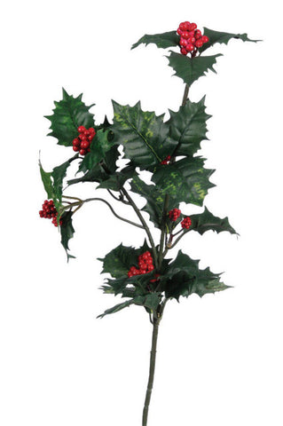 Artificial Holly Spray, Green, 70cm