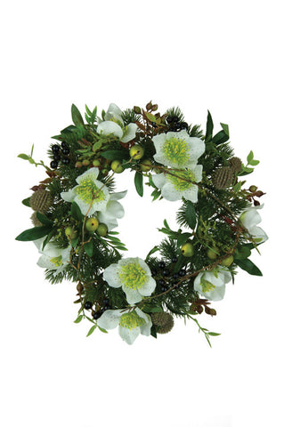 Christmas Candle Ring, Green Artificial Foliage, Large