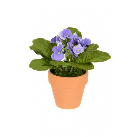 artificial african violet 15cm blue potted