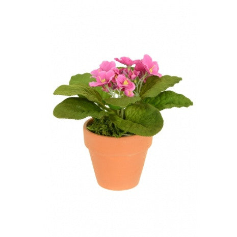 Artificial African Violet 15cm, Pink, Potted