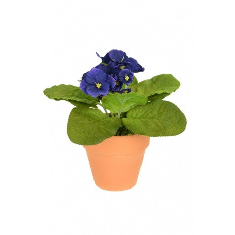 Artificial African Violet 15cm, Purple, Potted