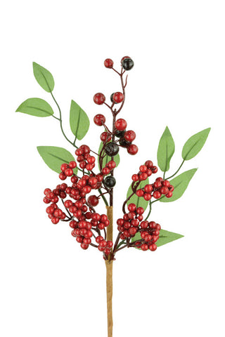Artificial Berry Pick with Leaves, 40cm