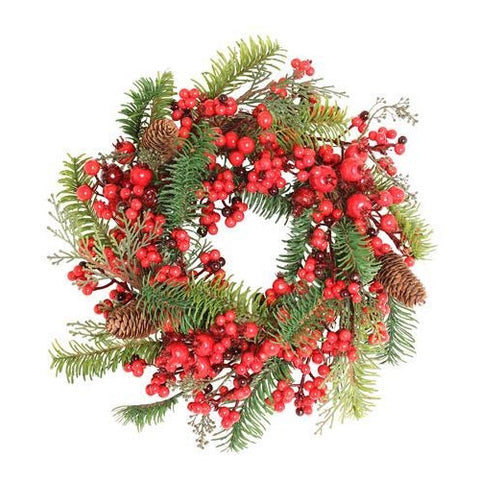 Christmas Wreath: Luxury Artificial Pine and Berry 14""
