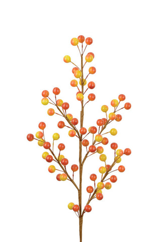 Artificial Autumnal Berry Spray, Yellow/Orange