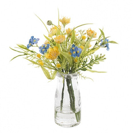 Artificial Flower Arrangement: Buttercup & Gyp. in Bottle Vase