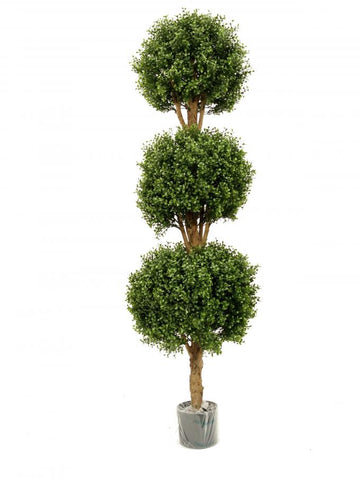 Artificial Topiary; Buxus Tree, Triple Ball