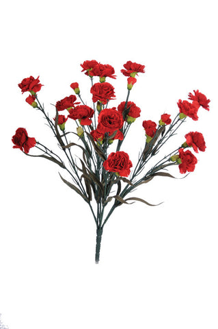 Artificial Carnation Bush, red, 48cm