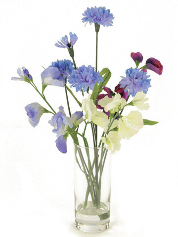 Artificial Flower Arrangement; Cornflower & Sweet Pea Mix in Vase