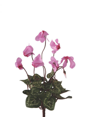Artificial Cyclamen Bush, Pink / Lilac