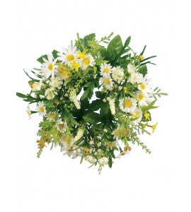 Artificial Daisy/Blossom Candle Ring or small wreath - White