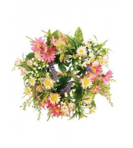 Artificial Daisy/Blossom Candle Ring or small wreath - Pink