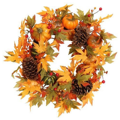 Artificial Autumnal Pumpkin Wreath