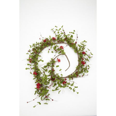 Christmas Garland - Artificial Eucalyptus & Red Flowers