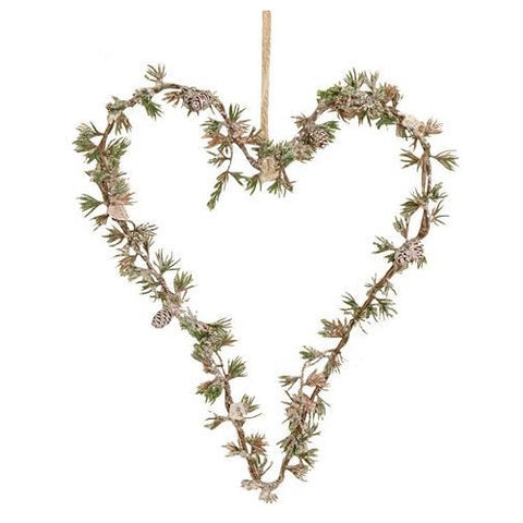 Frosted Artificial Pine Heart Hanger, Small
