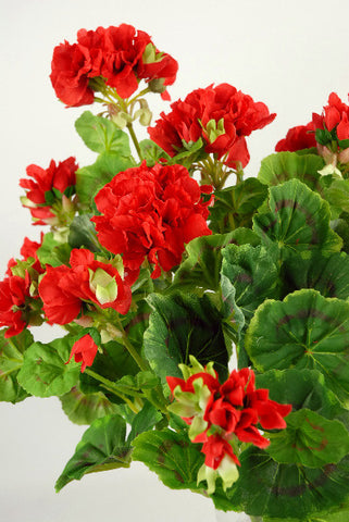 Artificial Geranium Plant, Red, UNPOTTED