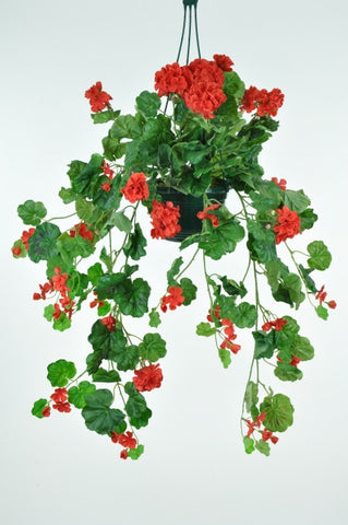 Artificial Trailing Geranium, Potted (Hanger)