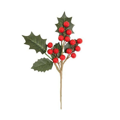 Artificial Holly & Berry Pick 20cm