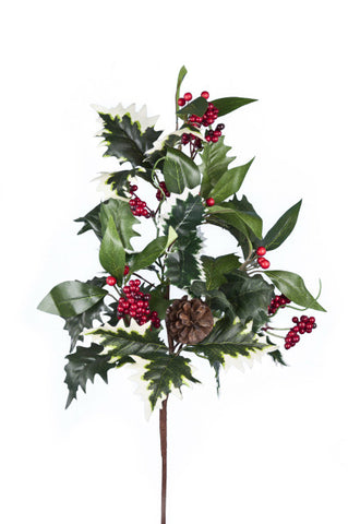 Artificial Holly Spray, Deluxe
