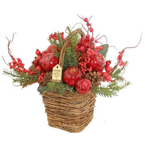 Luxury Christmas Apple & Pine Basket Display, Large