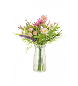 Artificial Flower Arrangement: Daisy & Blossom in bottle vase, Pink/White