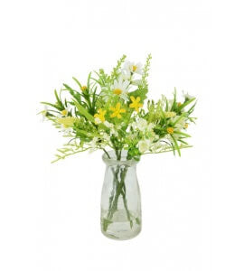 Artificial Flower Arrangement: Daisy & Blossom in bottle vase, Yellow/White