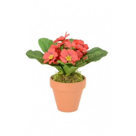 Artificial Primula, Red, Potted
