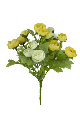Artificial Ranunculus Spray, Cream/Yellow