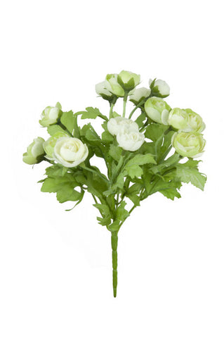 Artificial Ranunculus Spray, Green/Cream