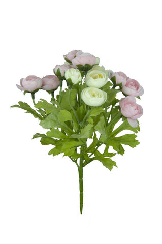 Artificial Ranunculus Spray, Pink/Cream
