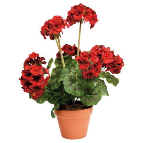 Artificial Geranium Plant, Red, Potted