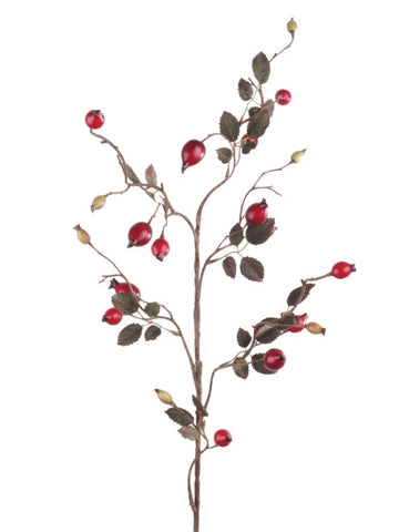 Artificial Rosehip Spray with Foliage