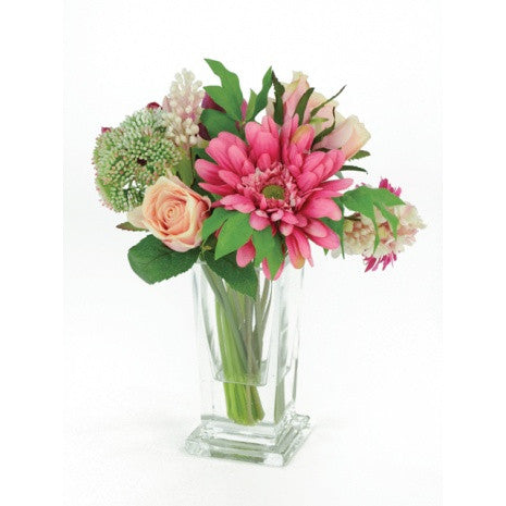 Artificial Flower Arrangement: Spring Mix in Vase; Pinks