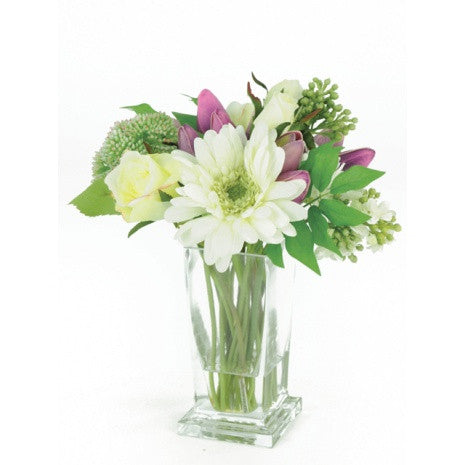 Artificial Flower Arrangement: Spring Mix in Vase; Cream/Purple