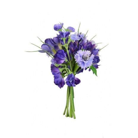 Artificial Crocus, Sweet Pea & Cornflower Bouquet, Blue, 29cm