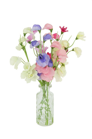 Artificial Flower Arrangement; Sweet Peas in Vintage bottle