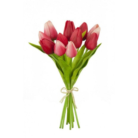 Artificial Tulips Bundle, Red/Pink Mix