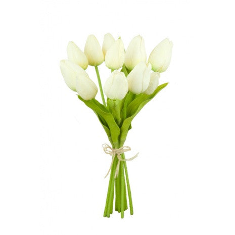 Artificial Tulips Bundle, White/Cream