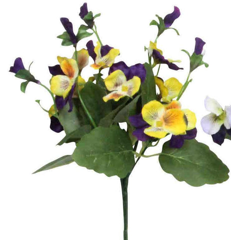 Artificial Viola Plant, Purple/Yellow