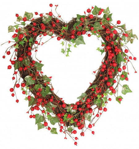 Christmas Wreath: Woodland Berry & Ivy Heart Wreath
