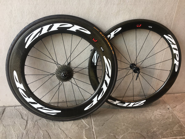 Zipp 404 Front with 808 Rear Firecrest Clincher Wheelset, Shimano Freehub